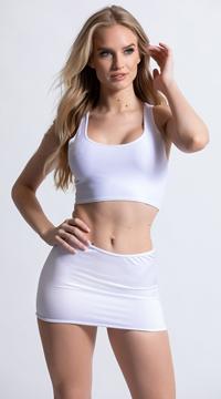 Clingy Lycra Mini Skirt - White