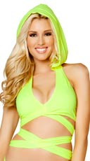 Hooded Wrap Around Halter Top - Yellow