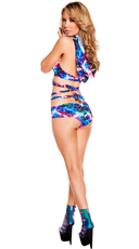 Electric Wrap Top and Low Rise Shorts Set - as shown