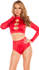 Long Sleeved Cut-Out Top - Red