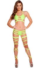 Triple Strapped Diamond Bikini Set with Leg Wraps - as shown