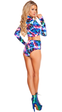 Electric Long Sleeved Crop Top and Bottom Set - as shown