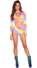 Neon Hearts Long Sleeved Crop Top and Bottoms Set - as shown