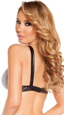 Leatherette Bra Top with Fishnet Detail - Black/White