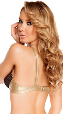 Leatherette Bra Top with Fishnet Detail - Gold/Black