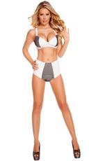 Leatherette and Fishnet Bikini Set - as shown