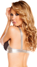Leatherette Bra Top with Fishnet Detail - Silver/Black