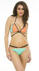 Strappy Color Blocked Bikini - as shown