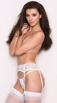 Seductive Lace Garter Belt - White