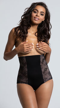 Black Fit with Lace High Waisted Brief - Black