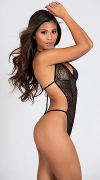 Seductive Crotchless Teddy - Black