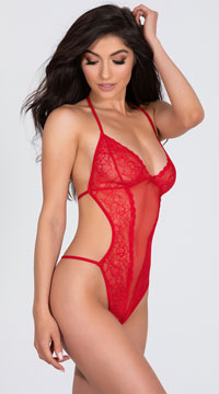 Seductive Crotchless Teddy - Red