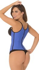 Blue Spaghetti Strap Contour Waist Trainer - Blue