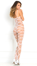Strapped Up Sheer Bodystocking - White