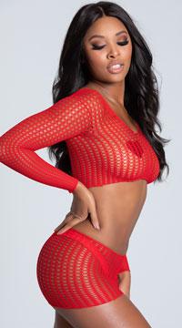 Crochet Crop Top Set - Red