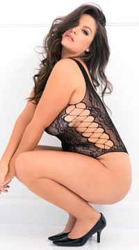Plus Size Laced Up Sexy Bodysuit - Black