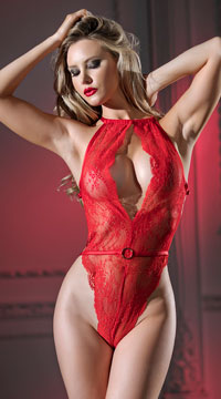 Monica Lace Teddy - Red