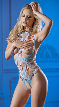 Emily Strappy Cage Teddy - White/Blue