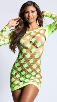 Neon Cutout Dress - Neon Lime