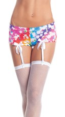 Starburst Boy Shorts With Garters - White