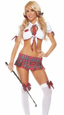 After School Detention Bedroom Costume - Red Plaid/White