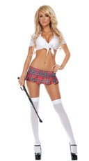 Red Plaid Mini School Girl Skirt - Red