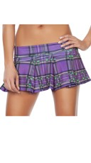 Plaid Mini School Girl Skirt - Purple