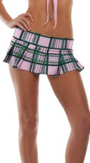 Plaid Mini School Girl Skirt - Pink
