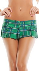 Plaid Mini School Girl Skirt - Green