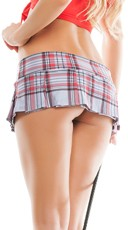 Plaid Mini School Girl Skirt - Grey