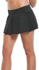 Solid Pleated Mini Skirt - Black
