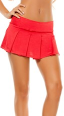 Solid Pleated Mini Skirt - Red