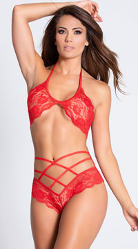 Lace Bra Set with Double Cross Panty - Red