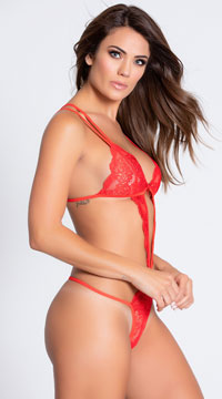 Lacy Cut Out ThongTeddy - Red