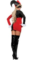 Sexy Two-Faced Jester Costume - Red/Black