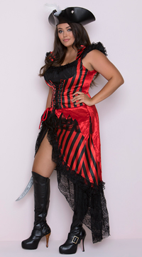 Plus Size Deluxe Striped Pirate Costume - Black/Red