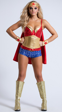 Superhero Babe Costume - Red/Gold