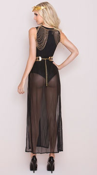 Black And Gold Goddess Costume - Black