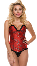 Plus Size Flirty Ruffle Trim Corset - Red