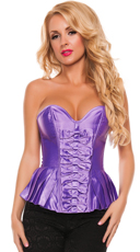 Plus Size Satin Peplum Corset - Purple