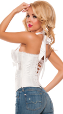 Plus Size Ruched Satin Halter Corset Sexy Satin Top - White