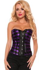 Plus Size Satin and Stripes Purple Affair Corset - Purple