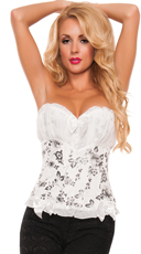 Victorian Dreams White Floral Corset - White/Black