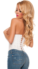 Cupless Brocade Waist Cincher - White