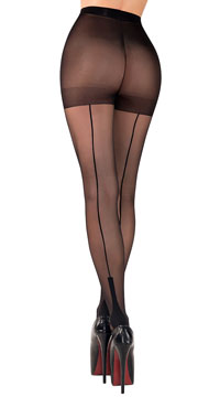 Cuban Heel Tights - Black