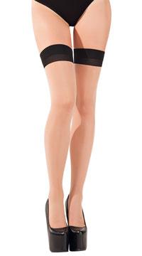 Sheer Cuban Heel Thigh-highs - Nude