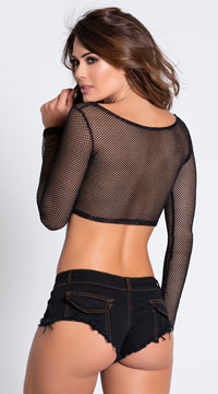 Double Trouble Mesh Long Sleeve Crop Tee - Black