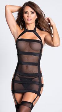 Bondage Babe Mini Dress with Strappy Backside - Black