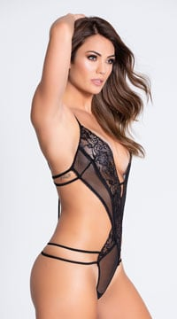 d651df1fc ... Give It To Me Strappy and Lace Teddy - Black