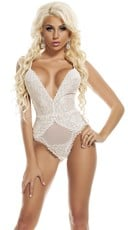 Heavenly in Lace Teddy - White
